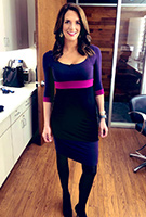 Cara Banks wearing the Colour Block Dress (Purple)