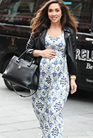 Myleene Klass wearing the Kimono Maxi Dress (Porcelain Blue)