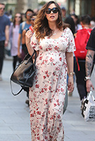 Myleene Klass wearing the Kimono Maxi Dress (Cherry Blossom Red)