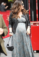 Myleene Klass wearing the Francesca Maxi Dress (Bronze Blue)