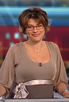 Kate Silverton wearing the Sienna Dress (Dusk)