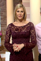 Jenni Falconer wearing the Chloe Dress Short (Claret)