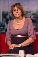 Kate Silverton wearing the Sienna Dress (Heather)