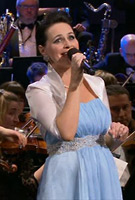 Annalene Beechey wearing the BlueBell Gown with Diamante Sash
