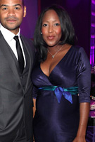 Angellica Bell wearing the Indigo Dress (Blue)
