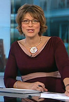 Kate Silverton wearing the Lola Dress (Claret)