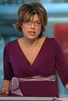 Kate Silverton wearing the Indigo (Berry) Maternity Dress by Tiffany Rose on BBC News at One
