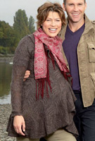 Kate Silverton wearing the Frill Jacket (Brown)