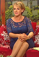 Sybil Mulcahy wearing the Amelia Dress (Windsor Blue)