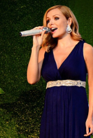 Katherine Jenkins wearing the Anastasia Gown in eclipse blue