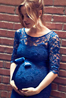 Melissa George in the Amelia Maternity Lace Dress (Windsor Blue)
