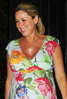 Claire Sweeney wears the Hawaiian Breeze Maxi Dress to Chiltern Firehouse