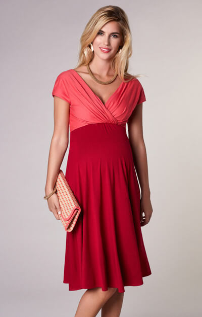 Alessandra Maternity Dress Short Coral Red by Tiffany Rose