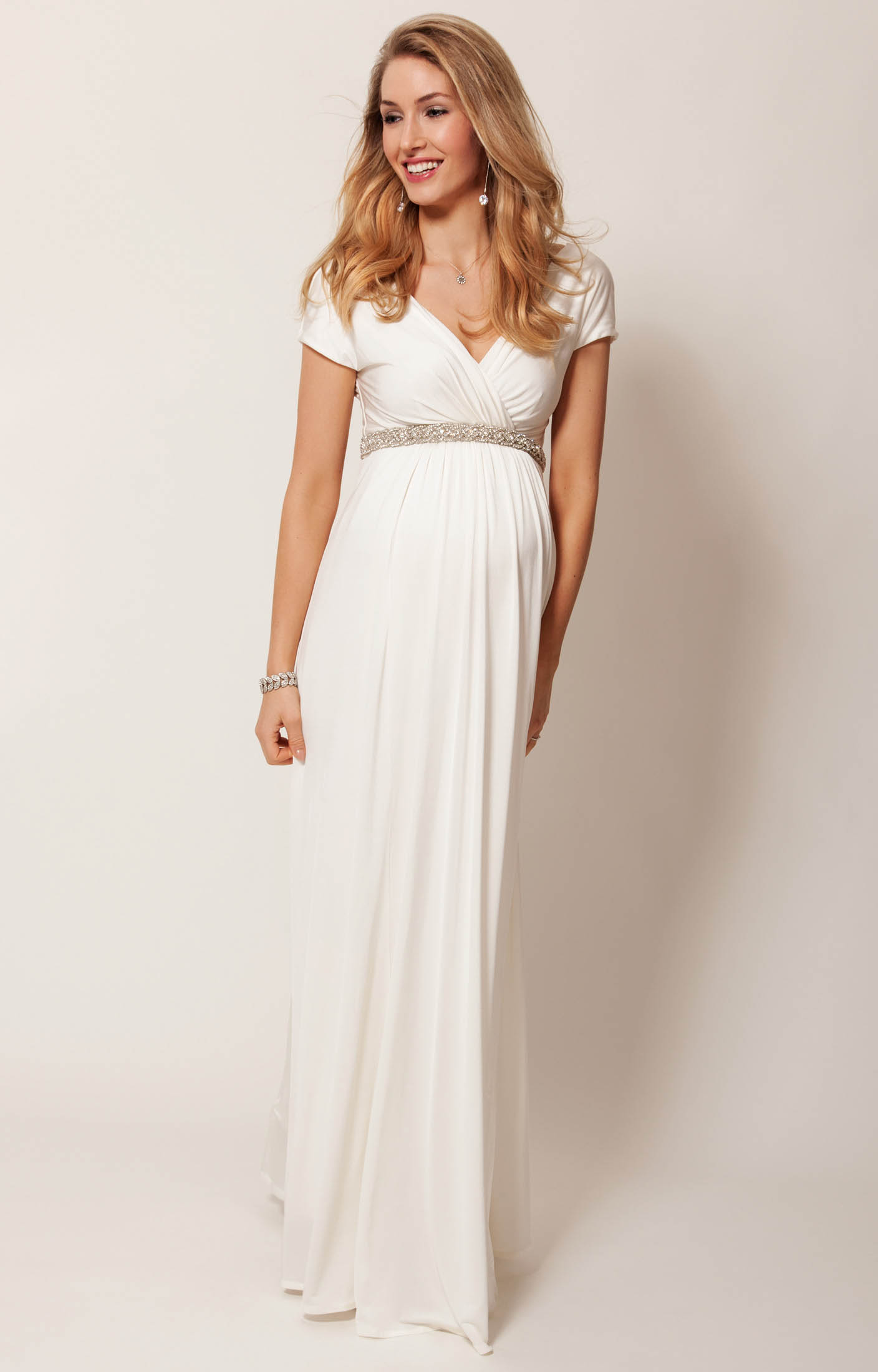 Alessandra Maternity Wedding Gown Long Ivory Maternity