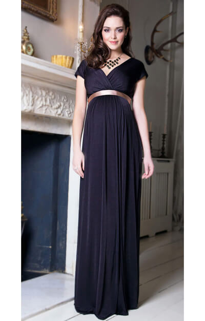 Alessandra Maternity Gown Long (Liquorice) by Tiffany Rose