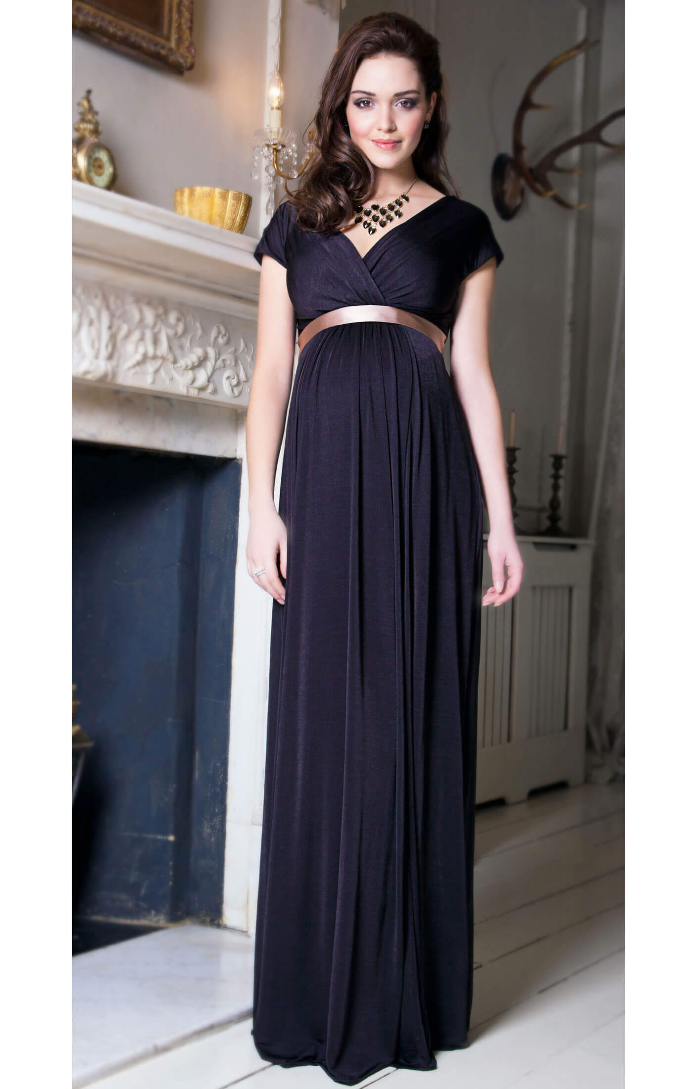 Alessandra Maternity Gown Long (Liquorice) - Maternity Wedding ...