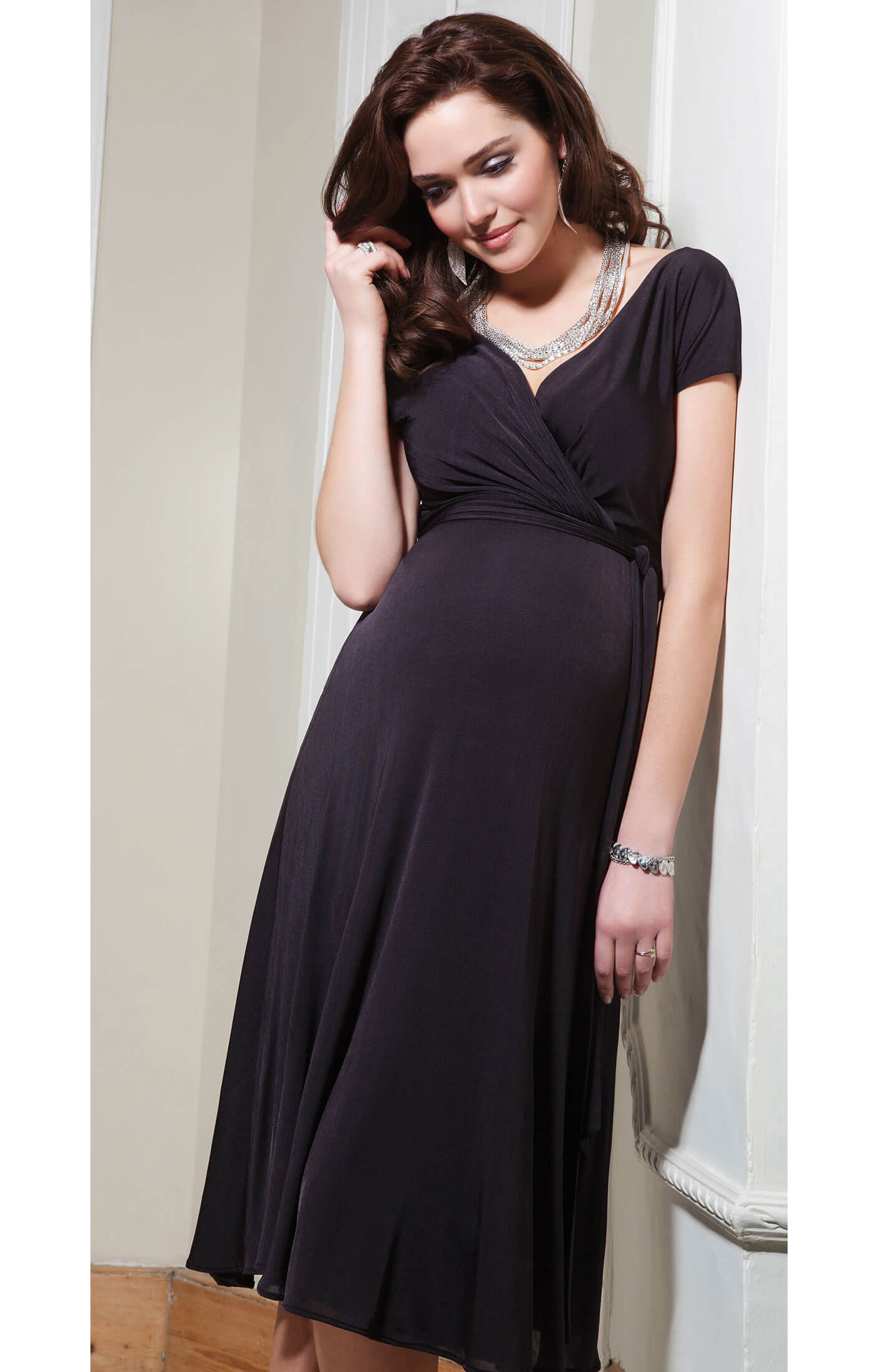 Alessandra maternity dress short liquorice by tiffany rose