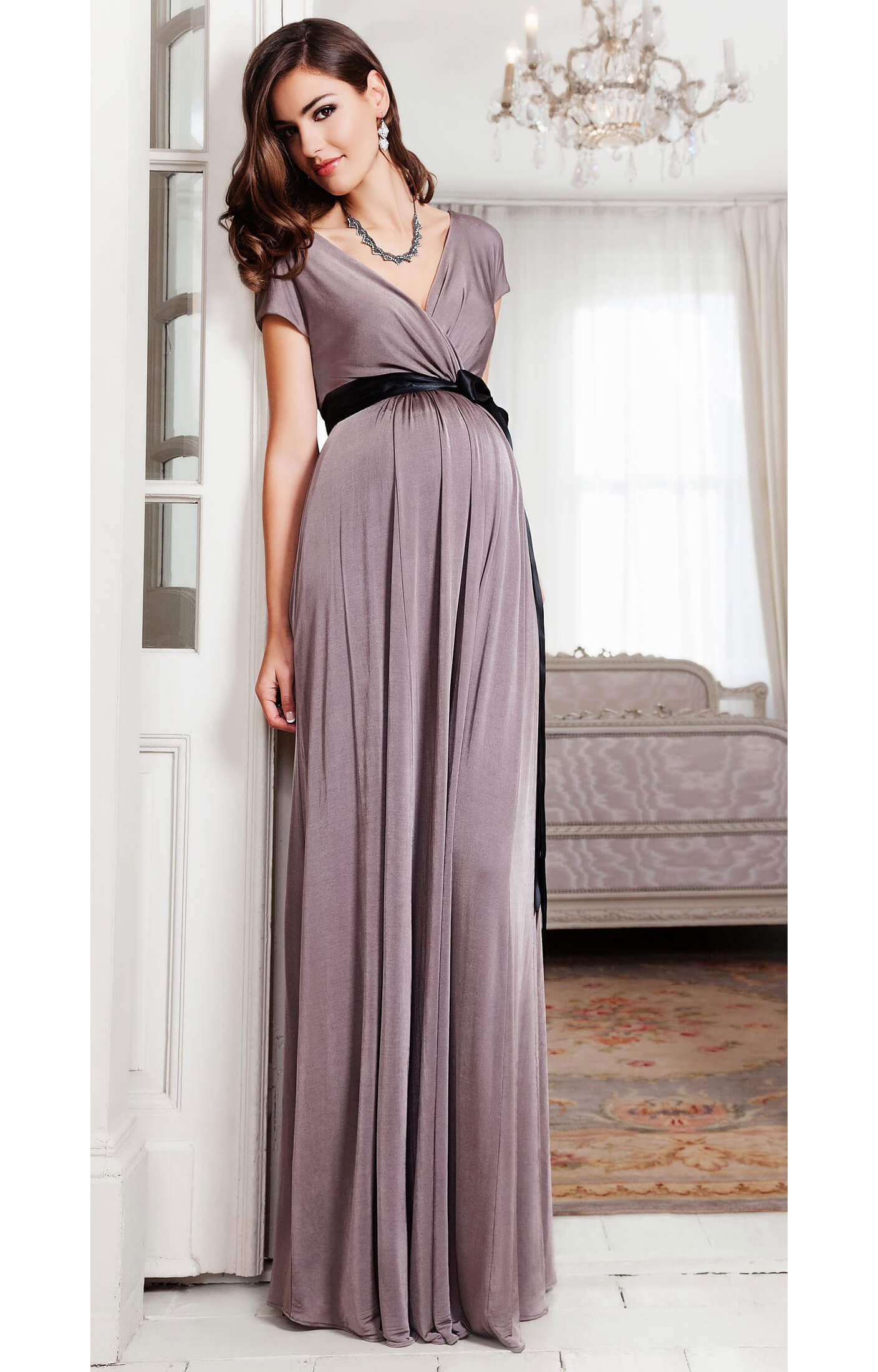 Alessandra maternity gown long mink maternity wedding for Wedding guest pregnancy dresses