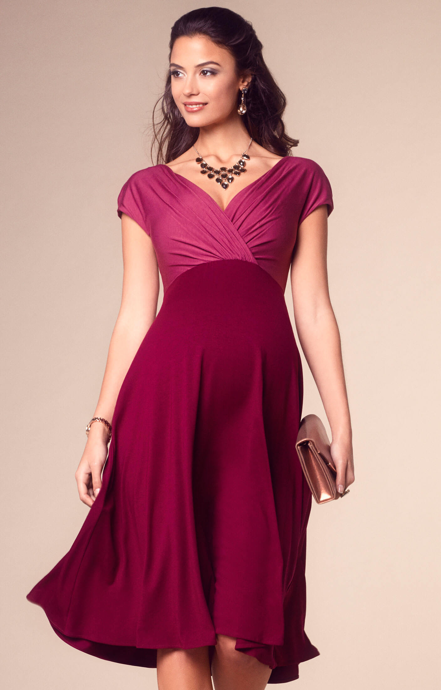Alessandra maternity dress short rosey red maternity for How to dress for an evening wedding