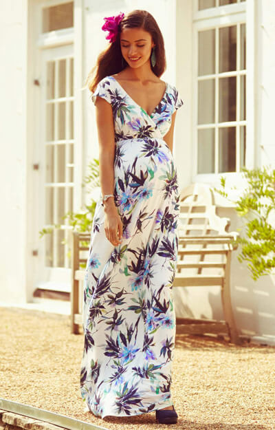 Robe Maxi de Grossesse Alana Encres Tropicales by Tiffany Rose