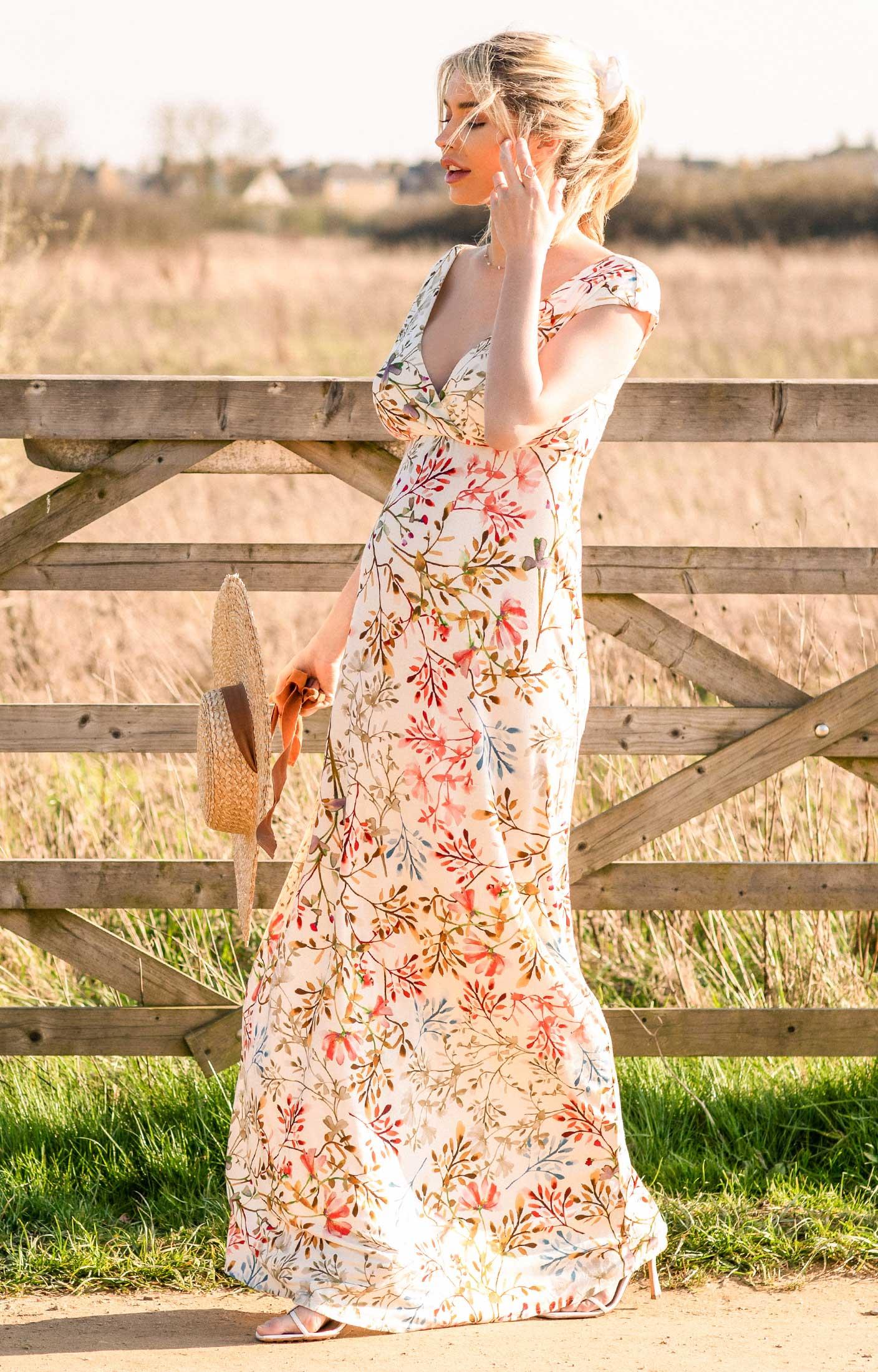 06e4e0e0834 Alana Maternity Maxi Dress Watercolour Meadow - Maternity Wedding ...