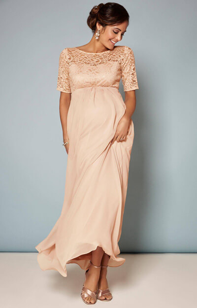 Alaska Maternity Chiffon Gown in Peach Blush by Tiffany Rose