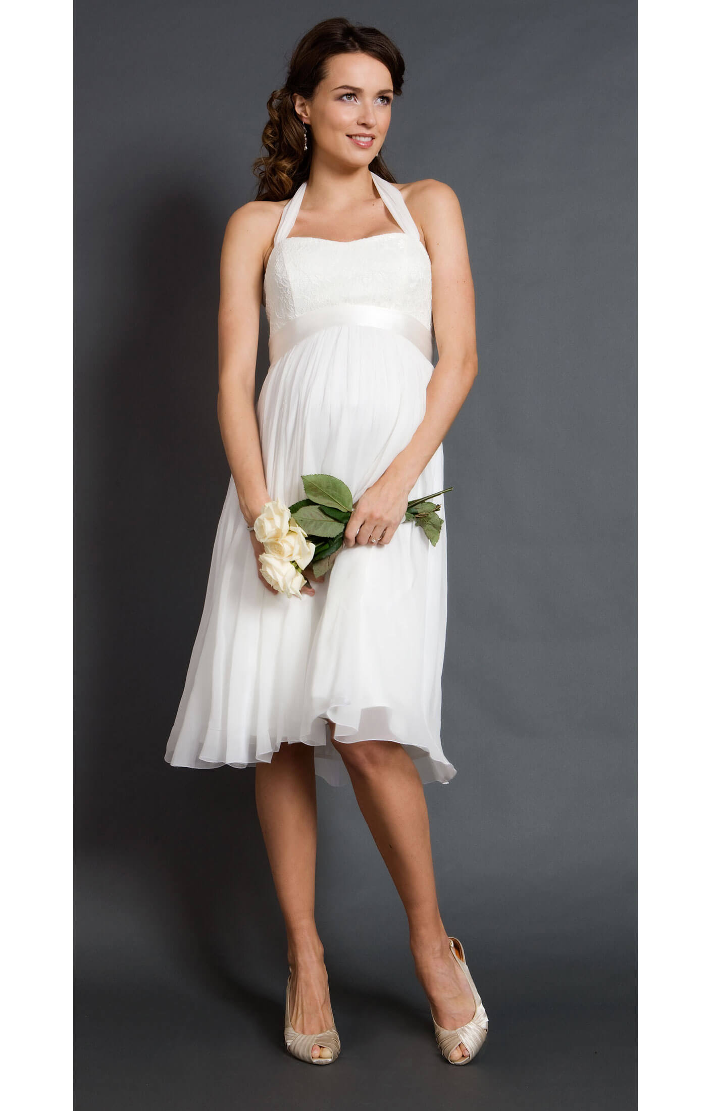 Alya lace maternity wedding dress short maternity for Maternity dress for a wedding
