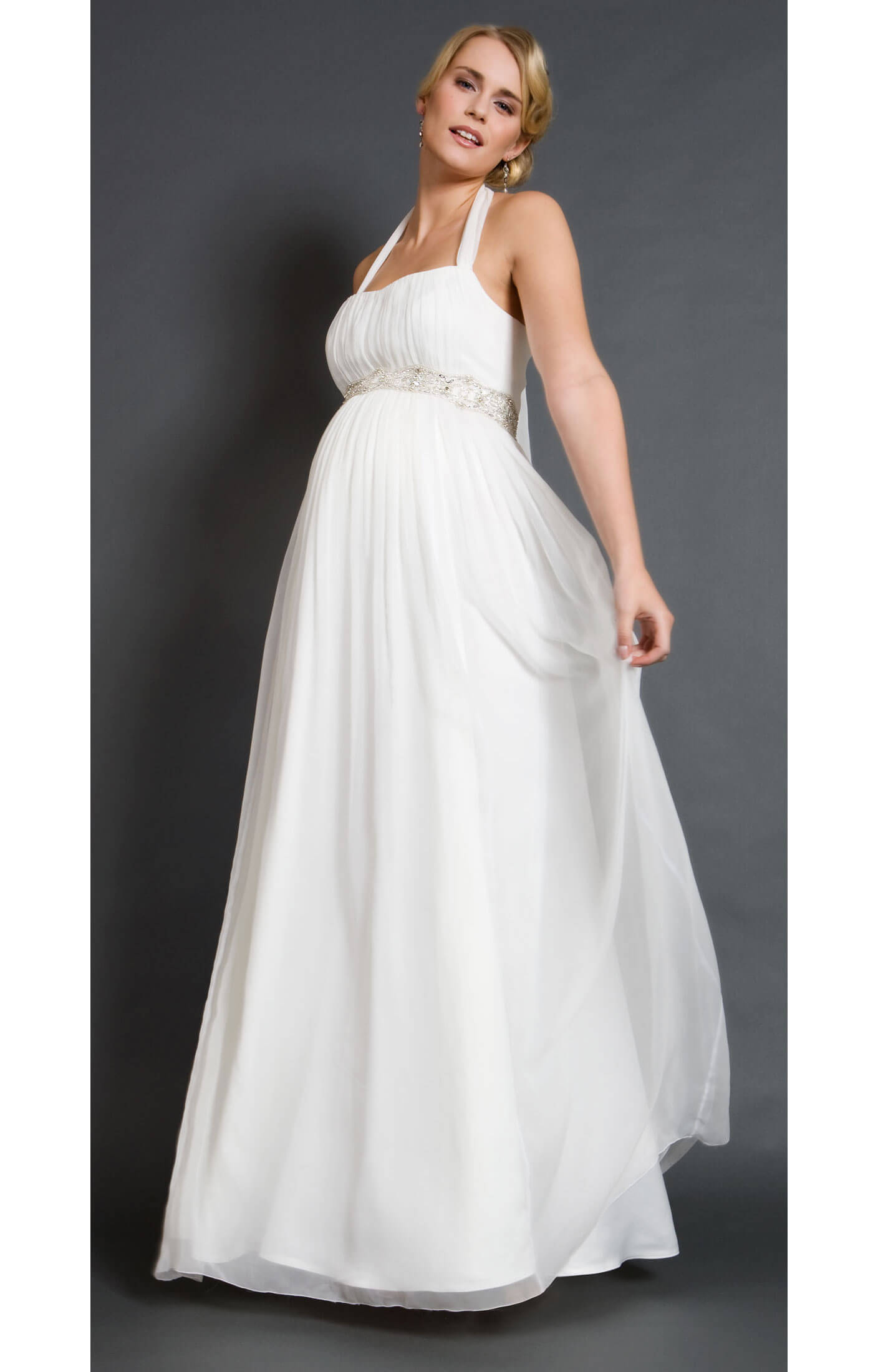 Alya silk maternity bridal gown long maternity wedding for Long silk wedding dress