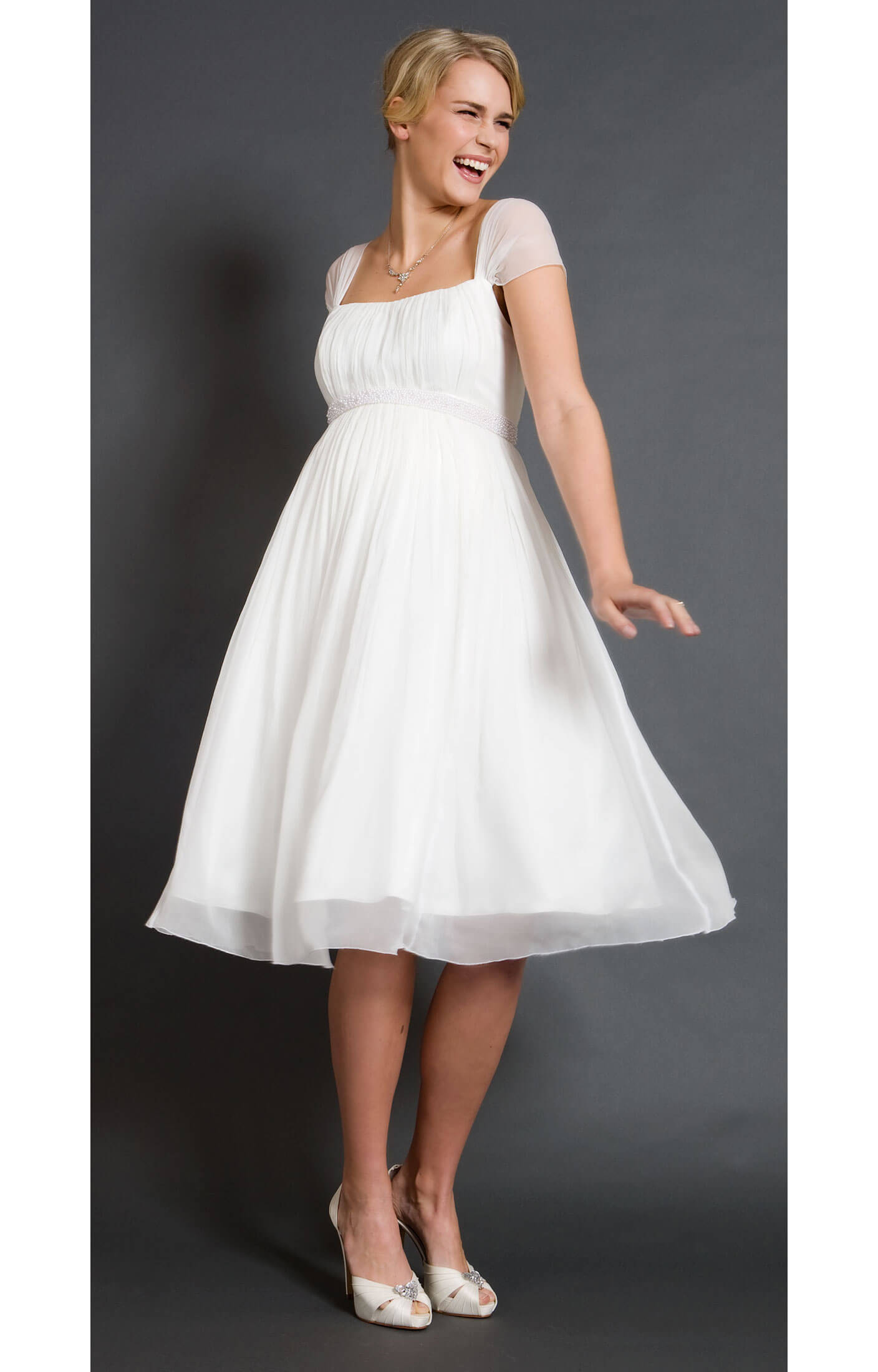 Alya silk maternity wedding dress short maternity for Maternity dress for a wedding
