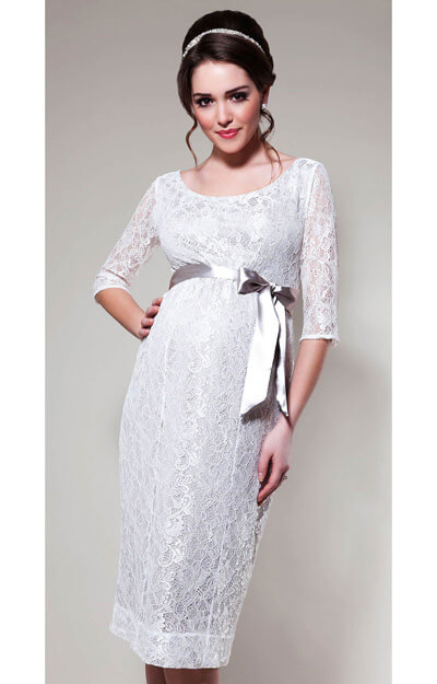 Amber Maternity Dress (White Sand) by Tiffany Rose