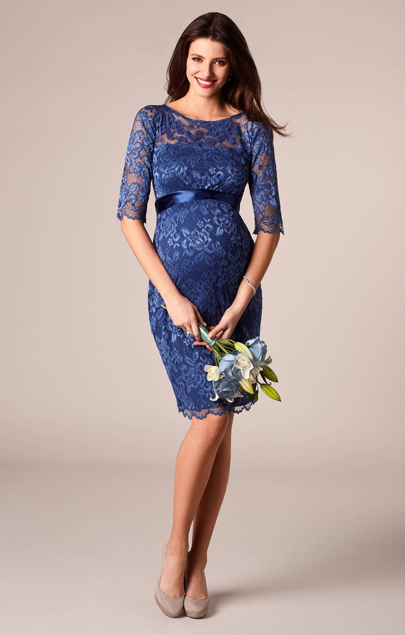 Amelia lace maternity dress short windsor blue for Wedding guest pregnancy dresses
