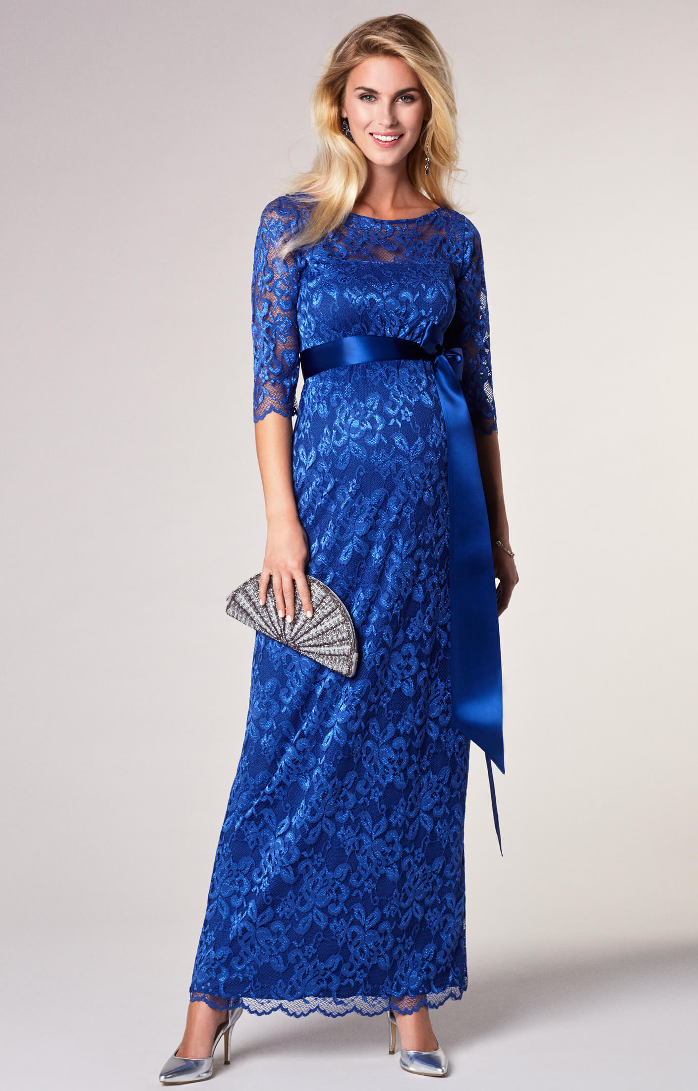 Amelia lace maternity dress long windsor blue for Wedding guest pregnancy dresses