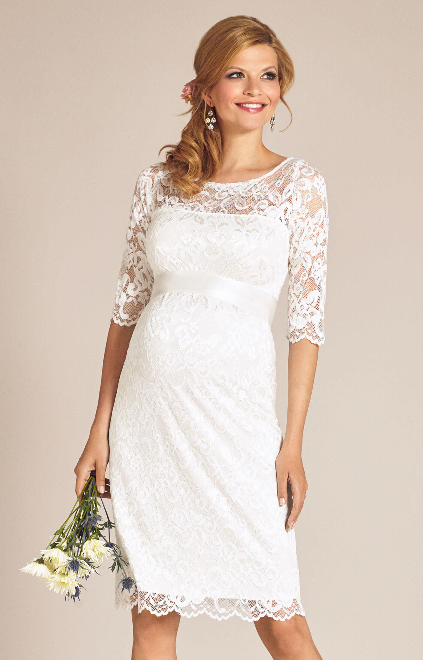 89100c66dcf Amelia Lace Maternity Wedding Dress Short (Ivory) - Maternity ...