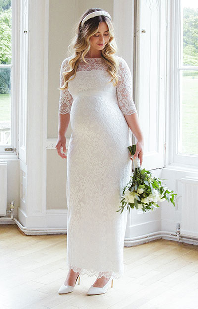 Amelia Lace Maternity Dress Long (Ivory) by Tiffany Rose