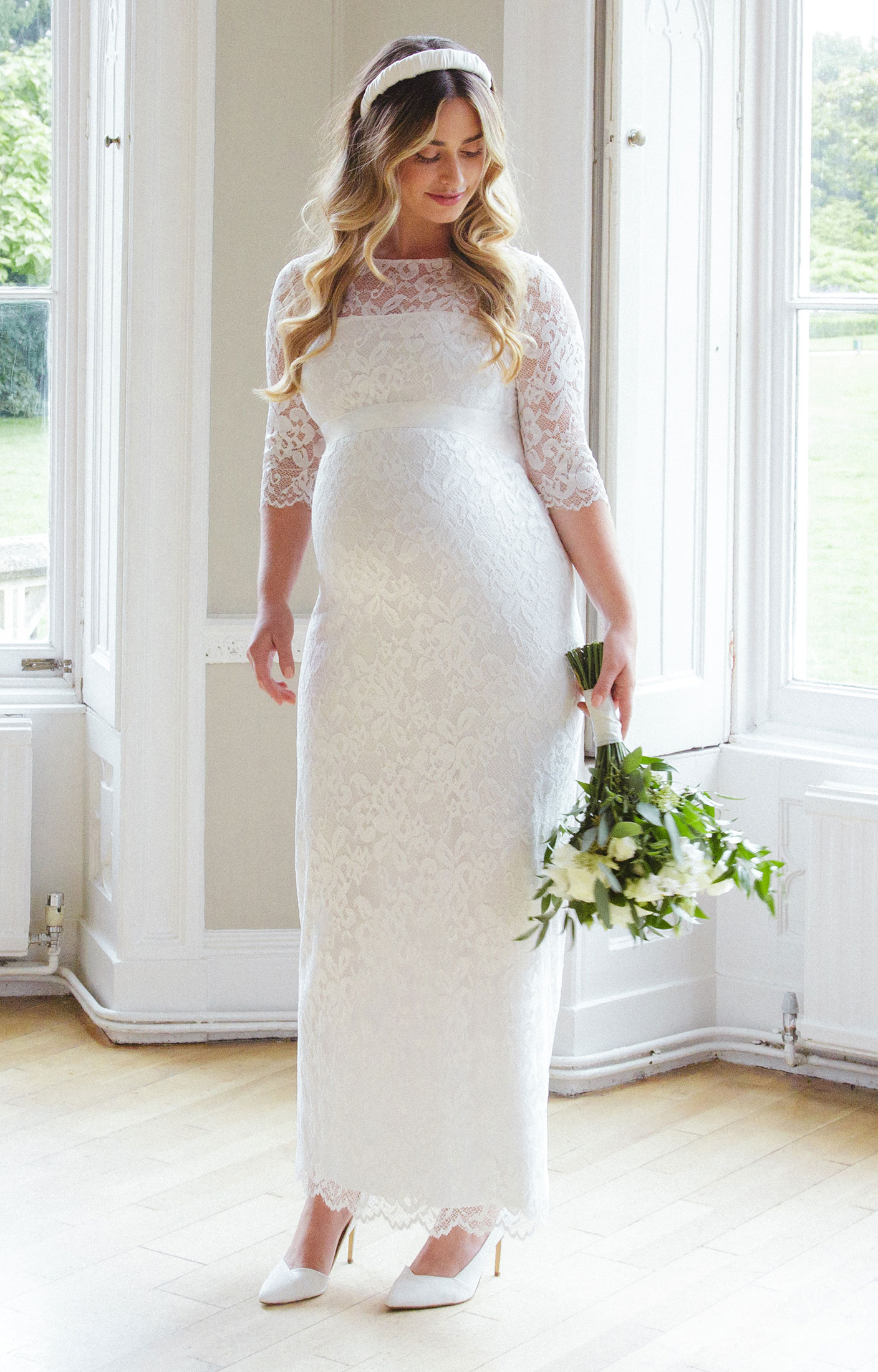 Amelia lace maternity wedding dress long ivory for Wedding guest pregnancy dresses