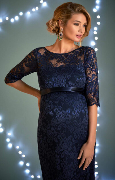 Amelia Maternity Lace Dress in Navy by Tiffany Rose