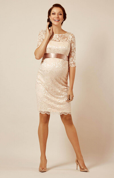 Amelia Lace Maternity Dress Short (Pearl Blush) by Tiffany Rose