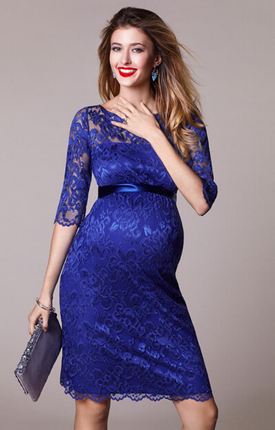 Amelia Maternity Lace Dress Short Royal Blue by Tiffany Rose