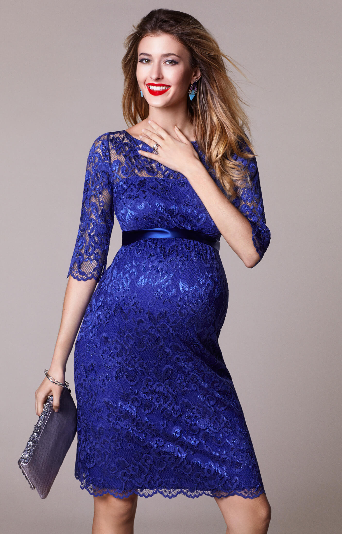 Amelia Maternity Lace Dress Short Royal Blue - Maternity Wedding ...