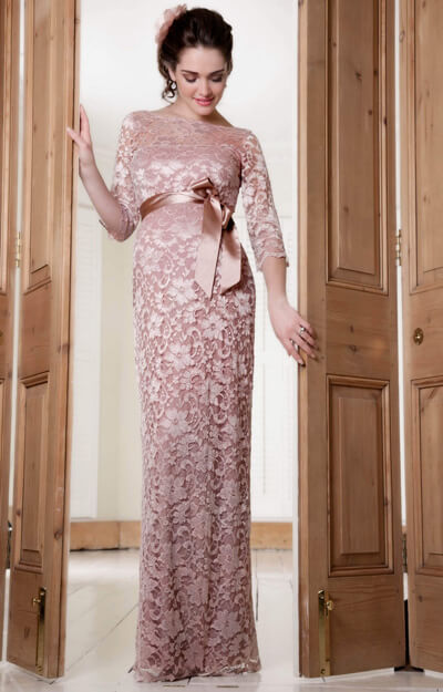 Amelia Lace Maternity Dress Long (Vintage Rose) by Tiffany Rose
