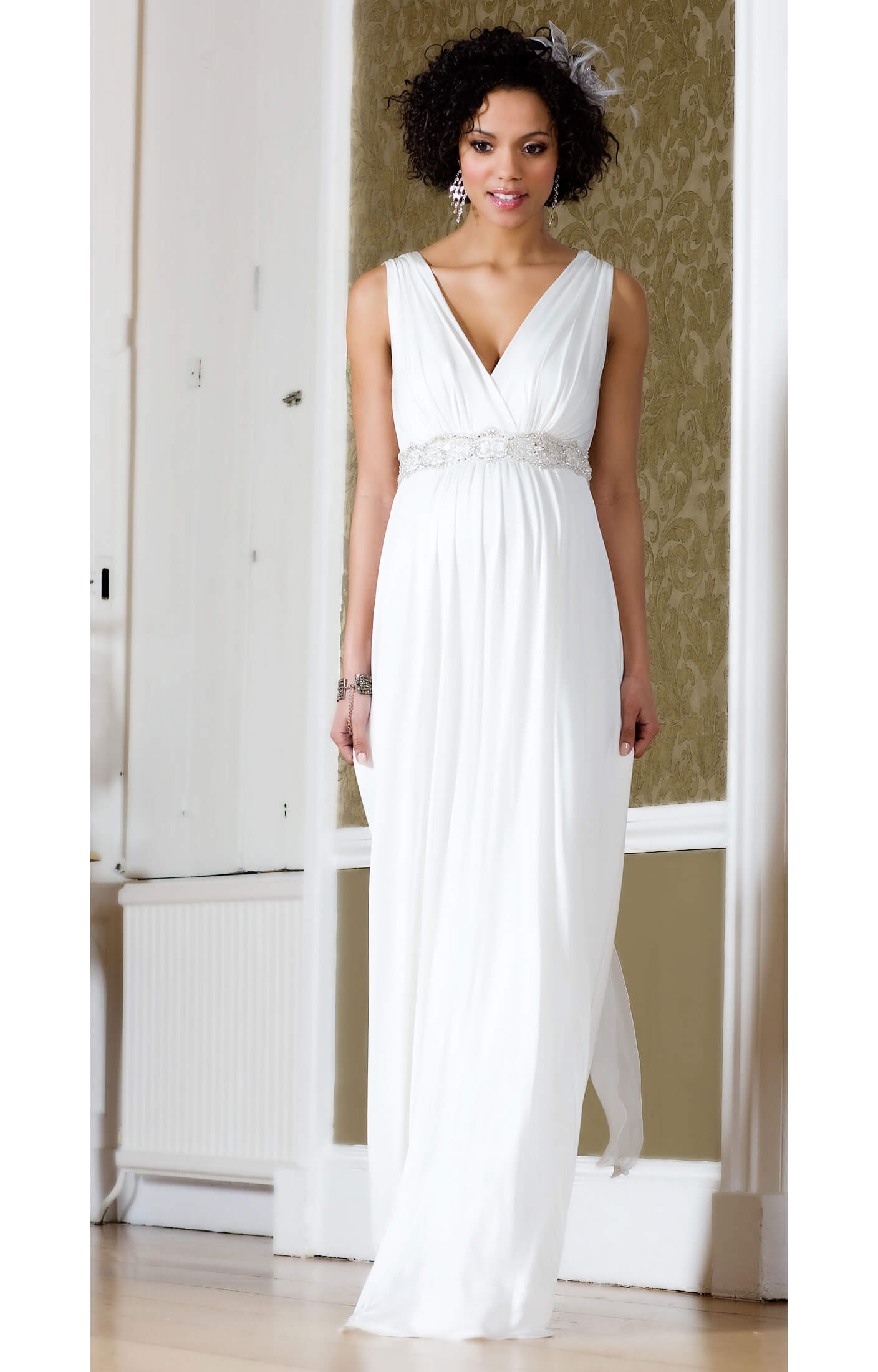 robe de grossesse longue anastasia avec ceinture en strass robes de maternit de mari e. Black Bedroom Furniture Sets. Home Design Ideas