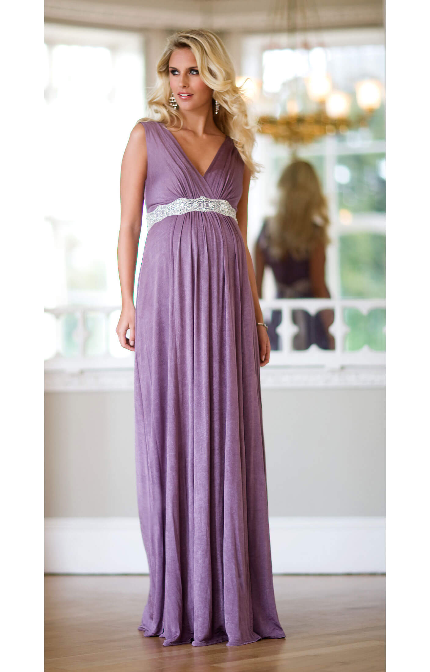Anastasia Maternity Gown (Heather) with Diamante Sash - Maternity ...