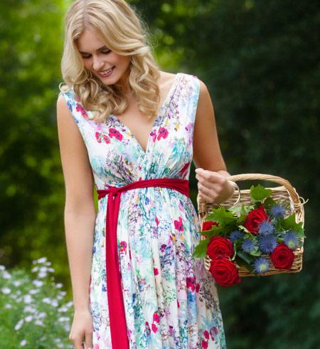 a9d8fad521ebe Anastasia Maternity Long Maxi Dress in Poppy floral print ...