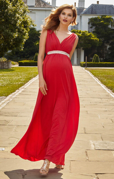 Anastasia Maternity Gown Long Sunset Red by Tiffany Rose