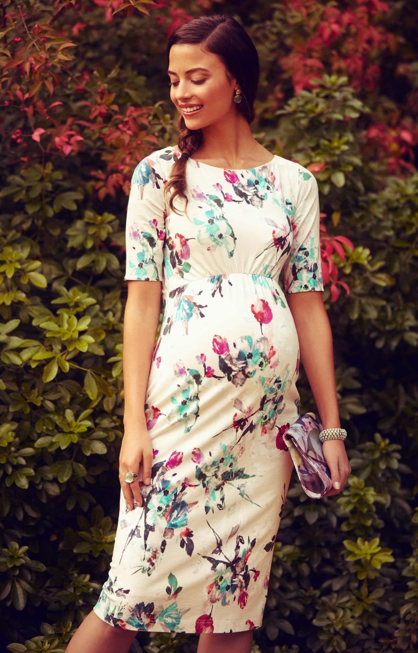 Anna Maternity Shift Dress Painterly Floral - Maternity Wedding ...