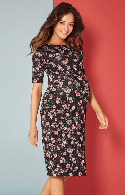 Anna Maternity Floral Shift Dress Short Ruby Bloom by Tiffany Rose