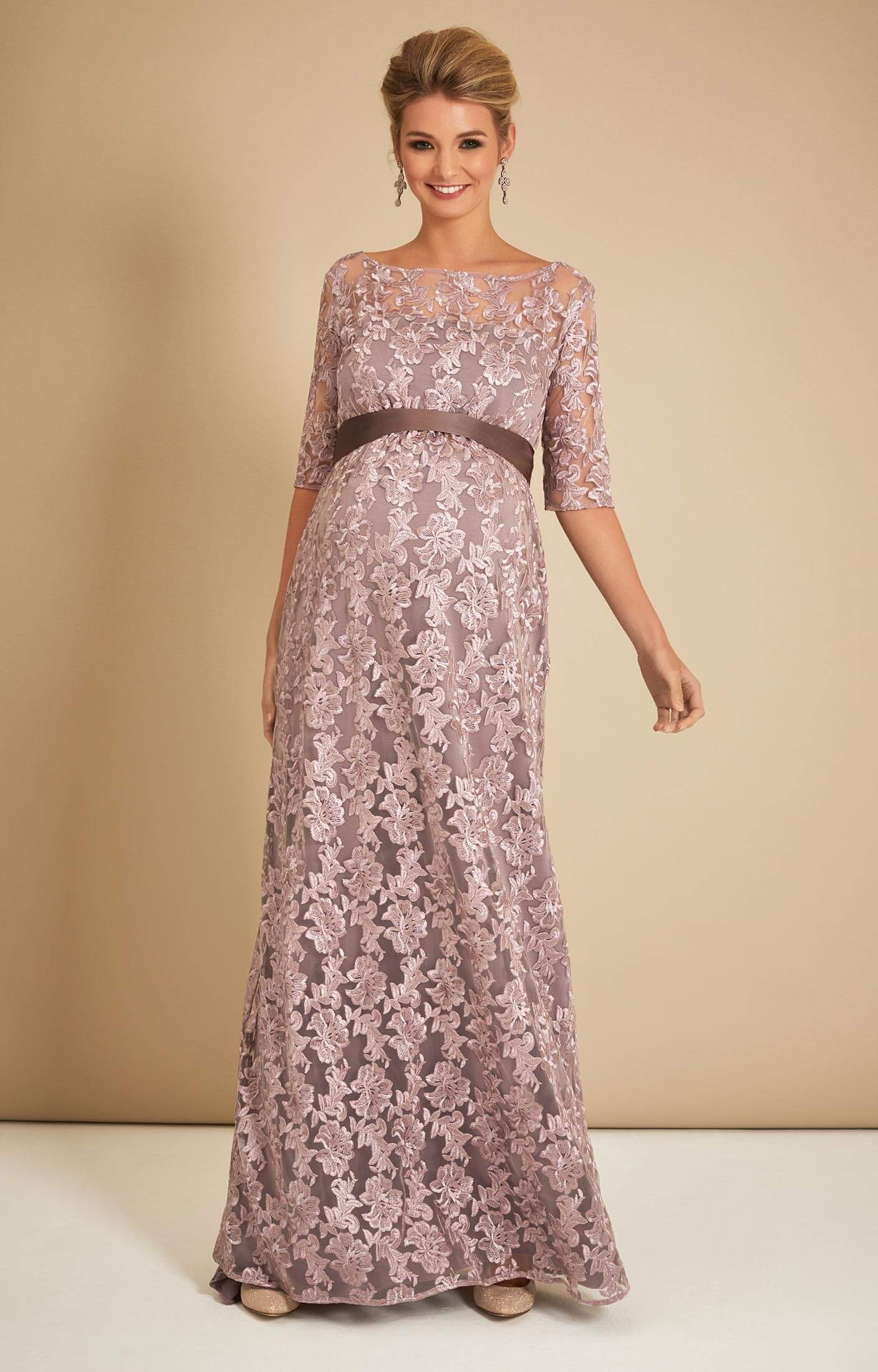 Asha Maternity Lace Gown in Lilac - Maternity Wedding Dresses ...