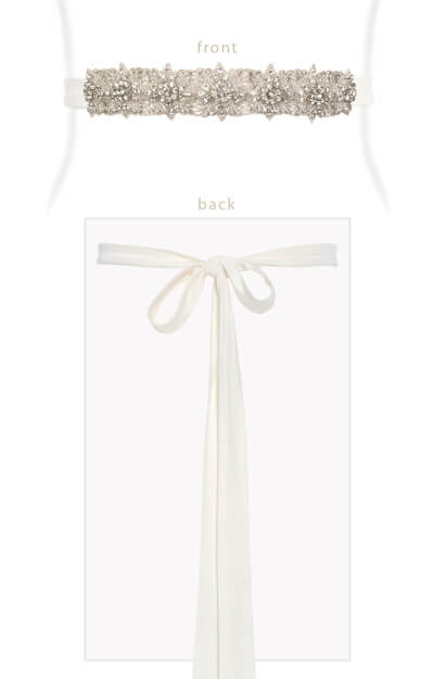 Constellation Bridal Sash Ivory Silk Tails by Tiffany Rose