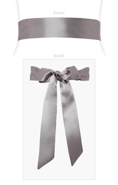 Smooth Satin Sash Slim Charcoal by Tiffany Rose