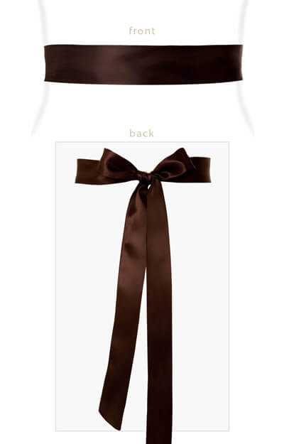 Smooth Satin Sash Slim Dark Chocolate by Tiffany Rose